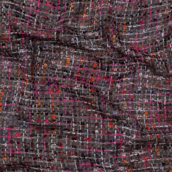 Milly Charcoal, Pink and Orange Plaid Tweed