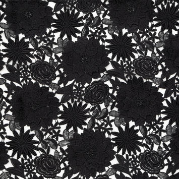 Milly Black 3D Floral Guipure Lace with Finished Edges