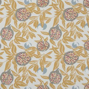 British Imported Ochre Pomegranate Printed Cotton Canvas