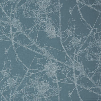 British Sky Cotton Canvas with Printed Abstract Branches