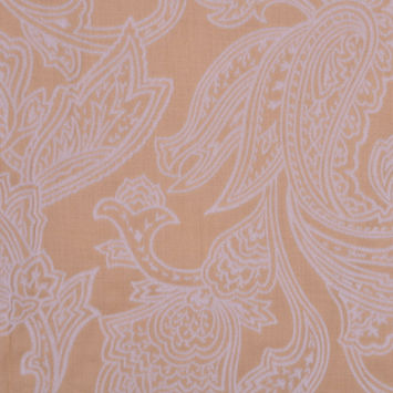 Beige and Pale Gray Flocked Paisley Cotton Voile