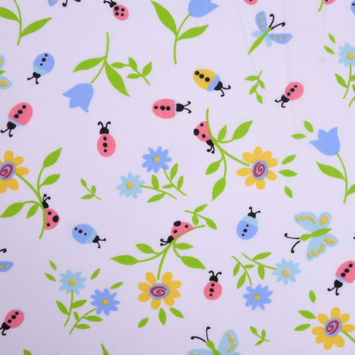 Ladybugs and Flowers Cotton Print