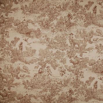 Tan Voile Cotton Twill Print
