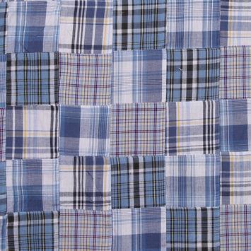 Blue & White Multi-Colored Patchwork Cotton Madras