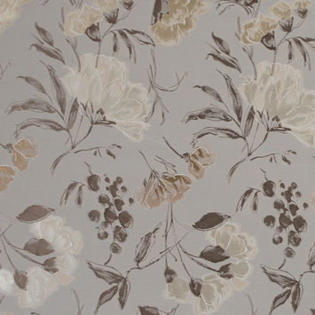 Lustrous Beige Cotton and Polyester Floral Jacquard