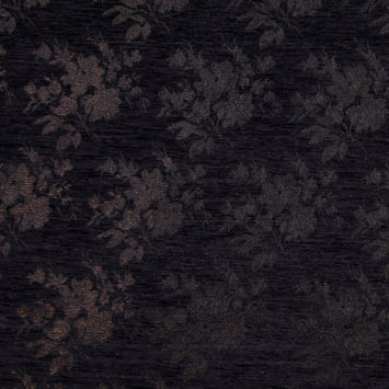 Italian Black and Brown Floral Rayon Chenille