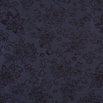 Italian Dark Navy Floral Rayon and Polyester Chenille
