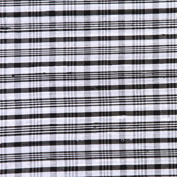 Black and Ivory Plaid Shantung/Dupioni