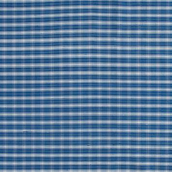 Blue and White Plaid Silk Dupioni