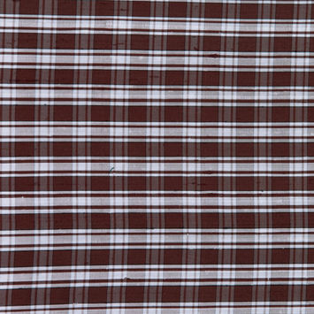 Chocolate Plaid Shantung/ Dupioni