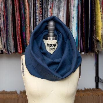 Majolica Blue 1 x 1 Blended Wool Tubular Rib Knit