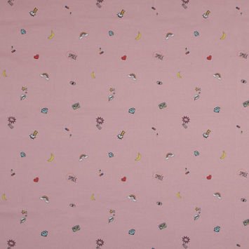 Mood Exclusive Pink Pop Art Icons Stretch Cotton Sateen