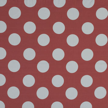 Mood Exclusive Coral Red Mahina Dots Stretch Cotton Sateen