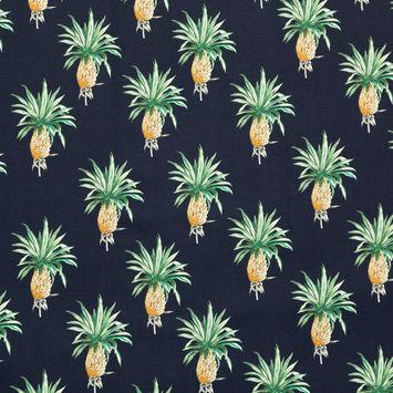 Mood Exclusive Navy Intaglio Pines Stretch Cotton Sateen