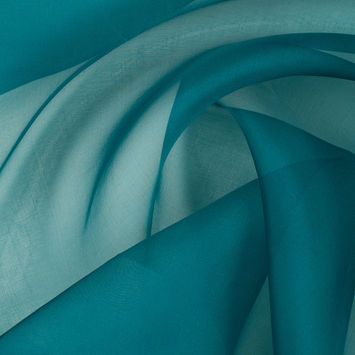 Deep Teal Silk Organza