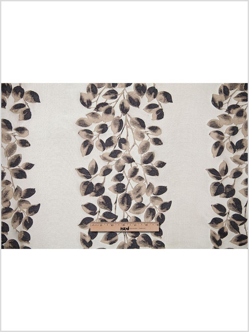 Black and Beige Columns of Leaves Brocade - Full