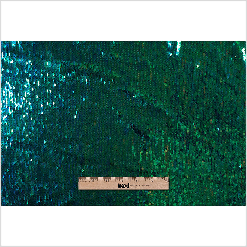 Green and Blue Iridescent Two-Toned Paillette Sequins on a Stretch Backing - Full