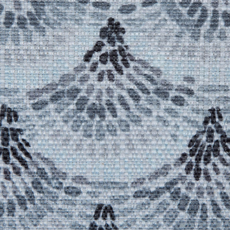Spanish Charcoal and Blue Geometric Poly/Cotton Canvas - Detail