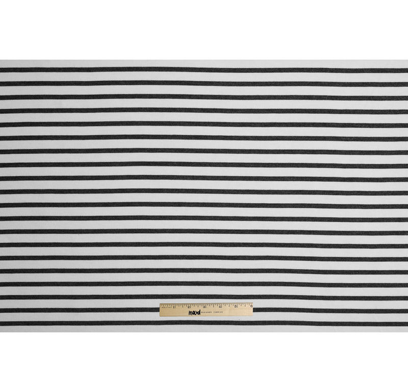 Ecru/Gray Saint James Striped Ponte Knit - Full