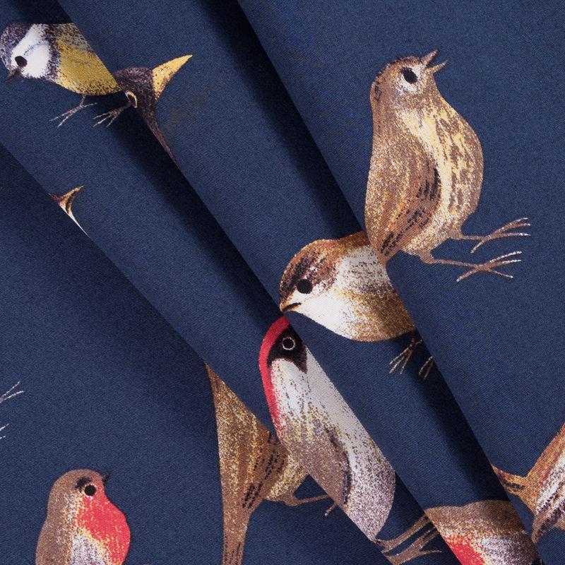 Navy Bird Printed Stretch Cotton Twill - Folded