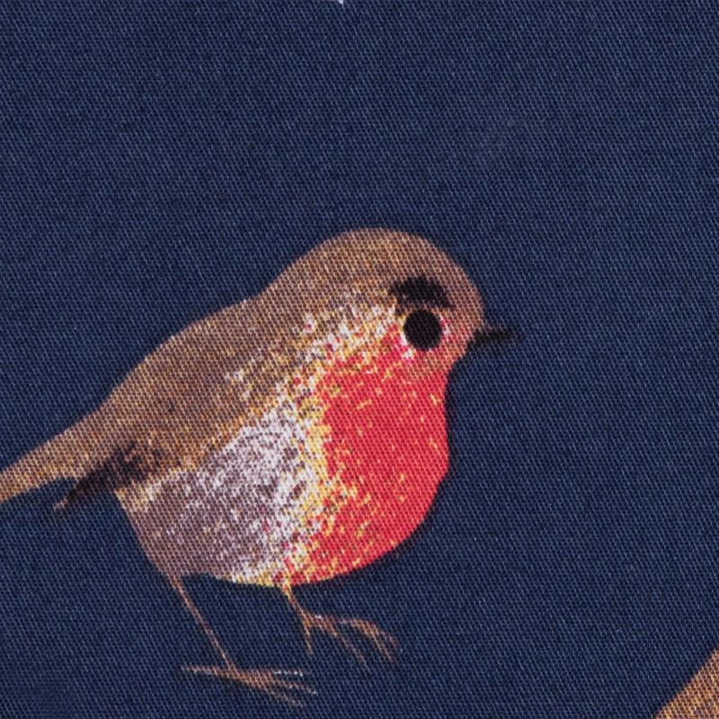 Navy Bird Printed Stretch Cotton Twill - Detail