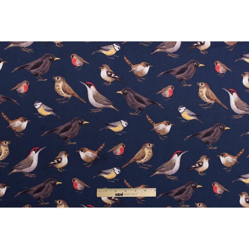 Navy Bird Printed Stretch Cotton Twill - Full
