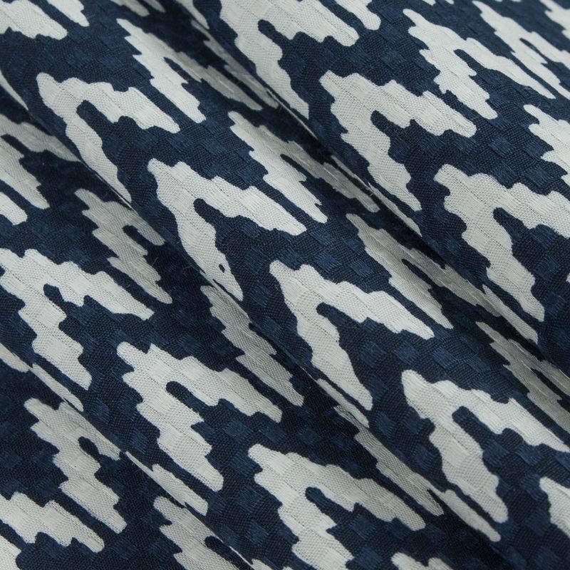 Navy/White Chevron Cotton Dobby Jacquard - Folded