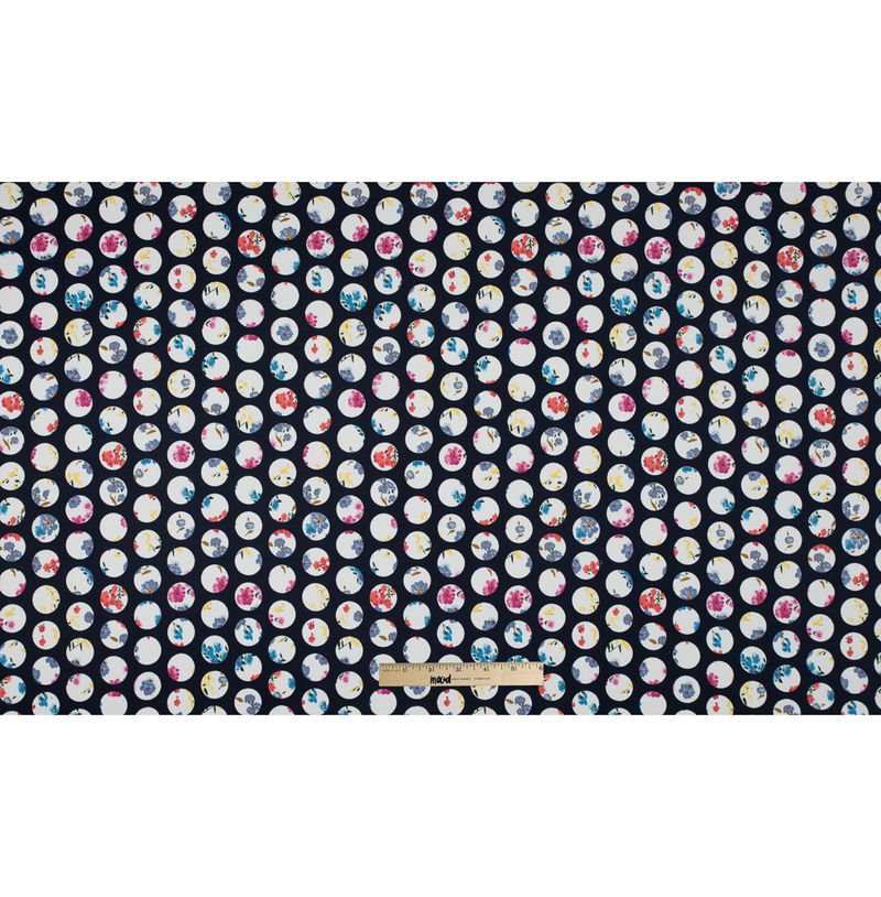 Navy Polka Dotted Floral Printed Stretch Cotton Sateen - Full