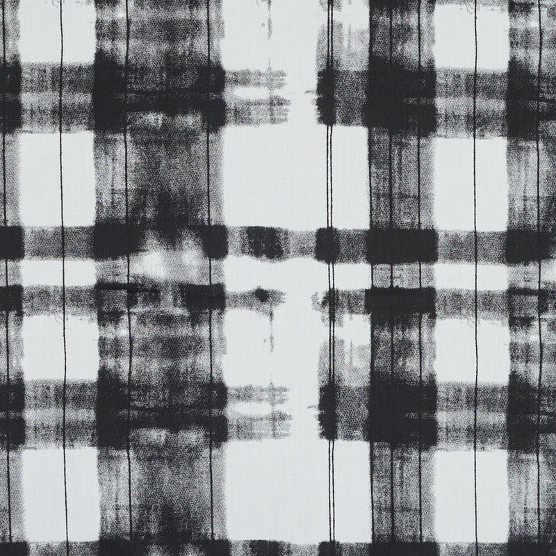 Black and White Painterly Plaid Printed Cotton Crepe
