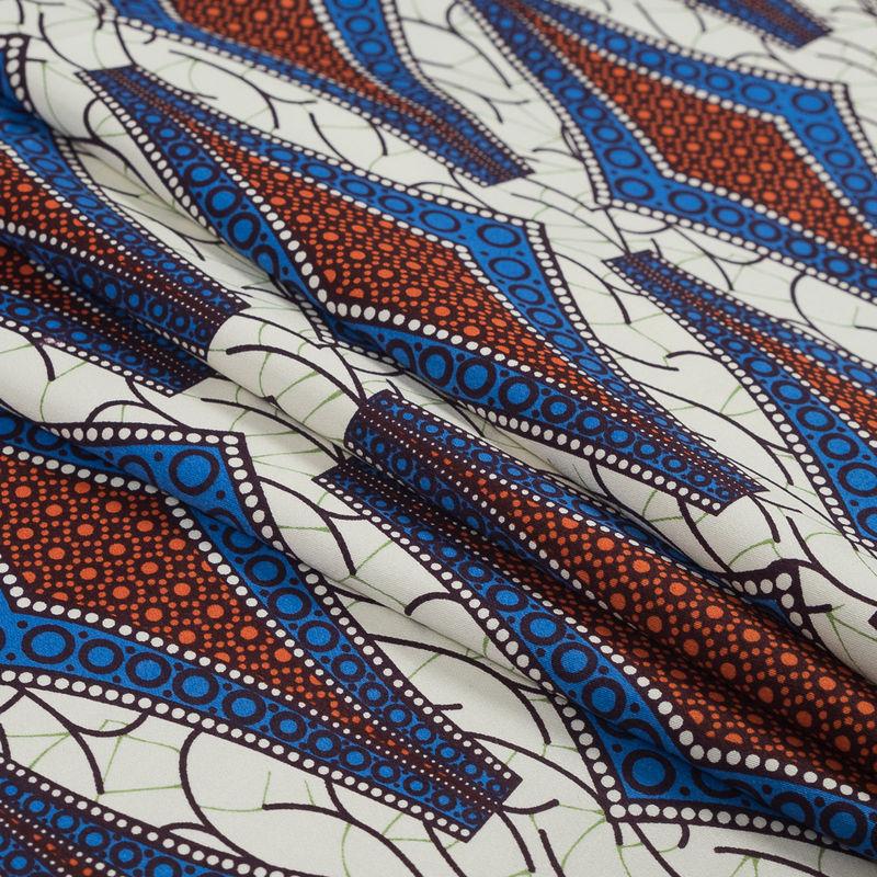 Blue and Orange Geometric Stretch Cotton Sateen - Folded