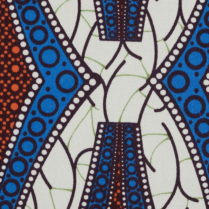 Blue and Orange Geometric Stretch Cotton Sateen - Detail