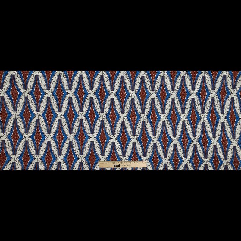 Blue and Orange Geometric Stretch Cotton Sateen - Full