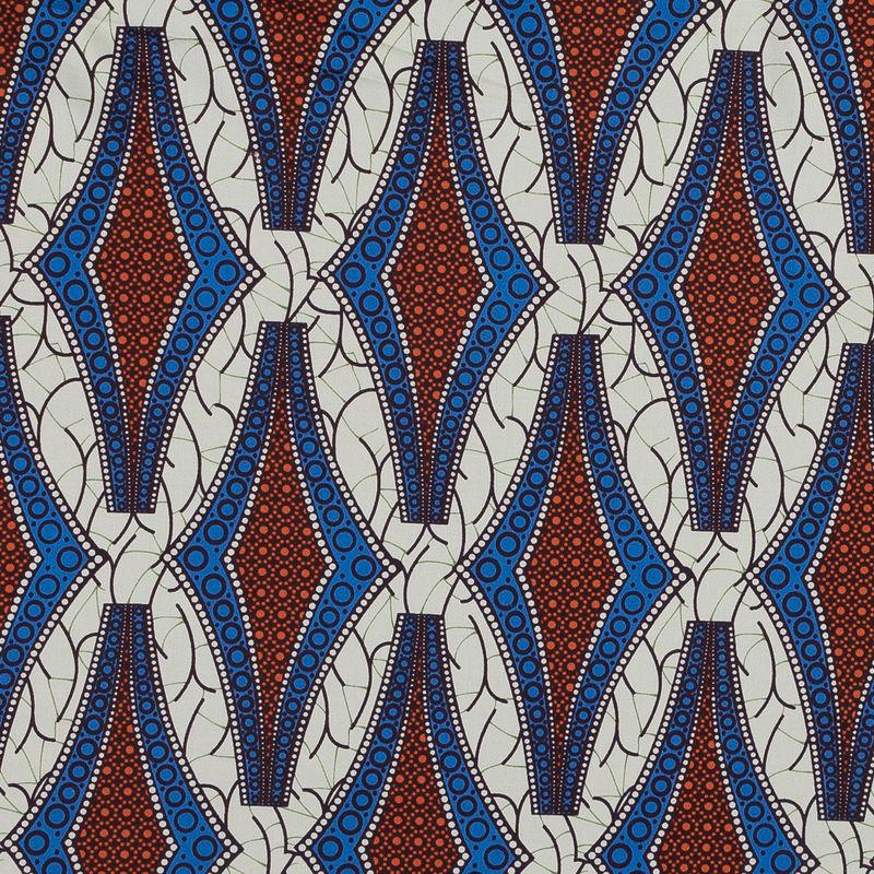 Blue and Orange Geometric Stretch Cotton Sateen