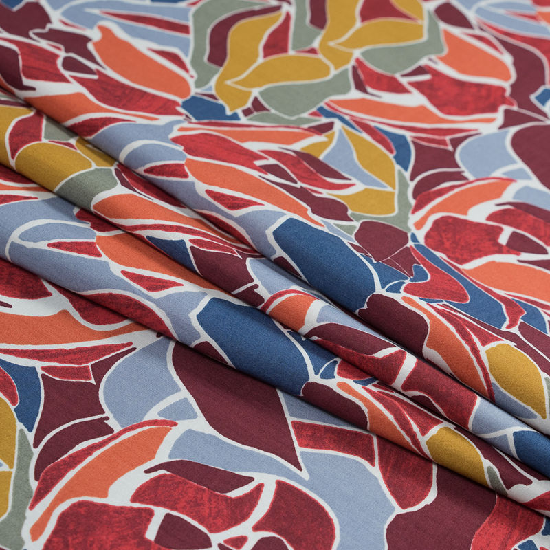 Blue and Orange Abstract Digitally Printed Cotton and Tencel Woven - Folded