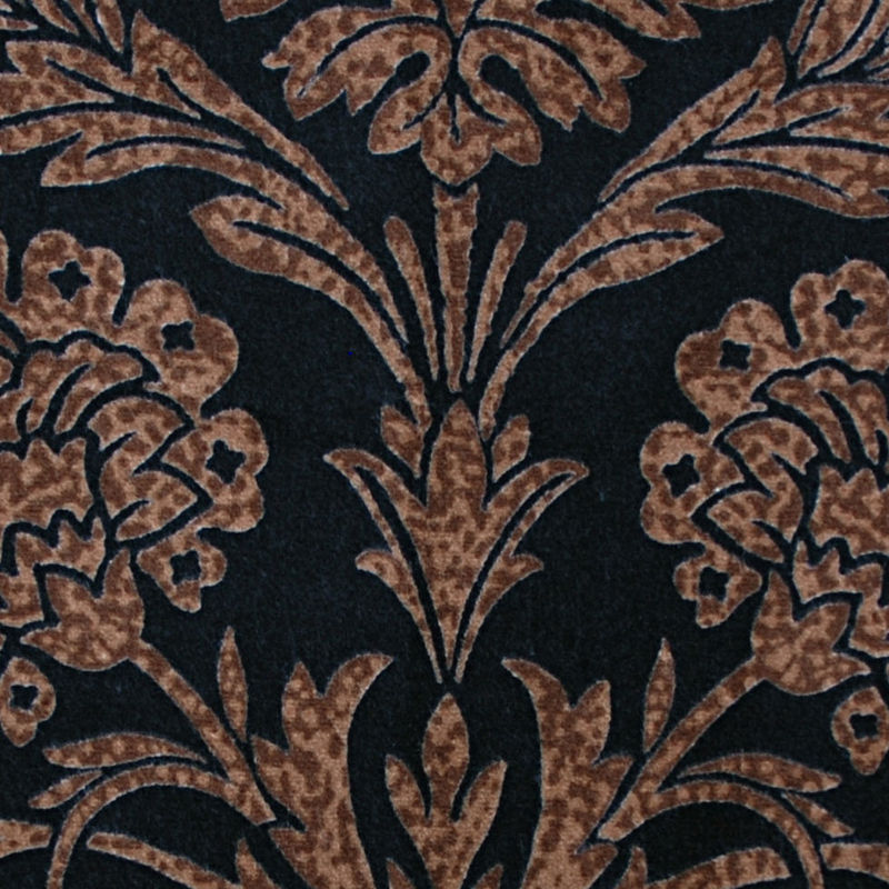 Black and Brown Floral Cotton Velveteen - Detail