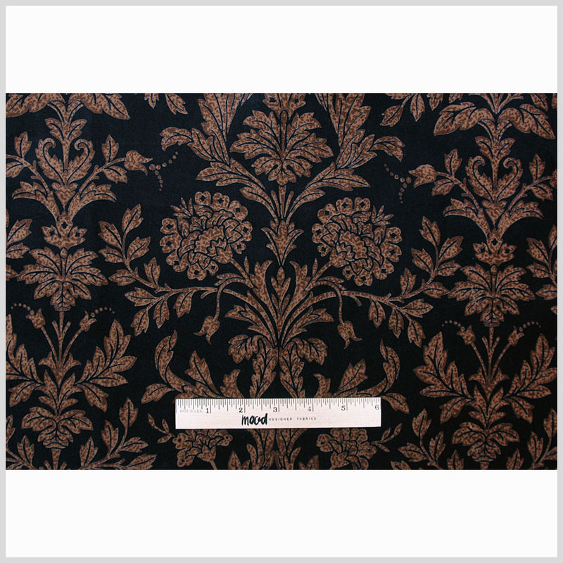 Black and Brown Floral Cotton Velveteen - Full