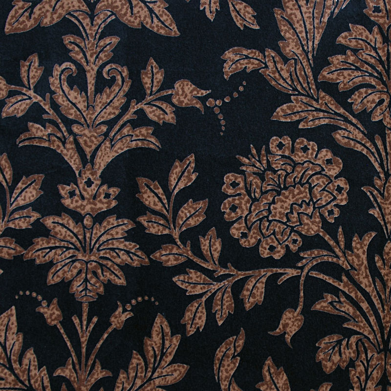 Black and Brown Floral Cotton Velveteen