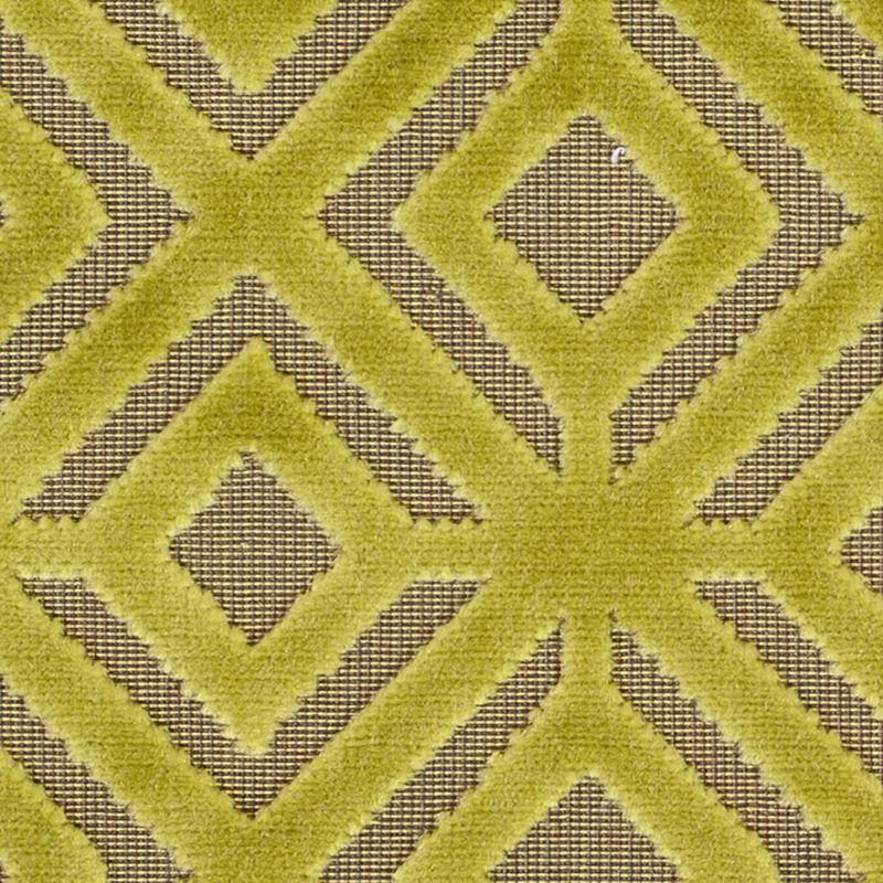 Chartreuse Geometric Cut Velvet - Detail