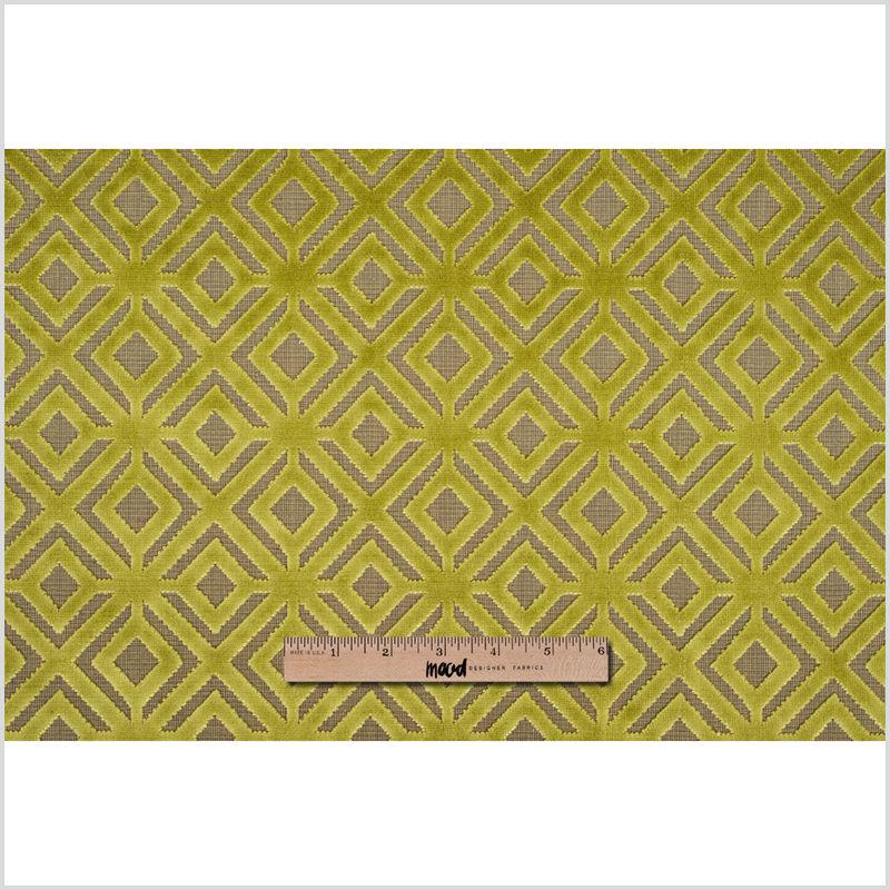 Chartreuse Geometric Cut Velvet - Full