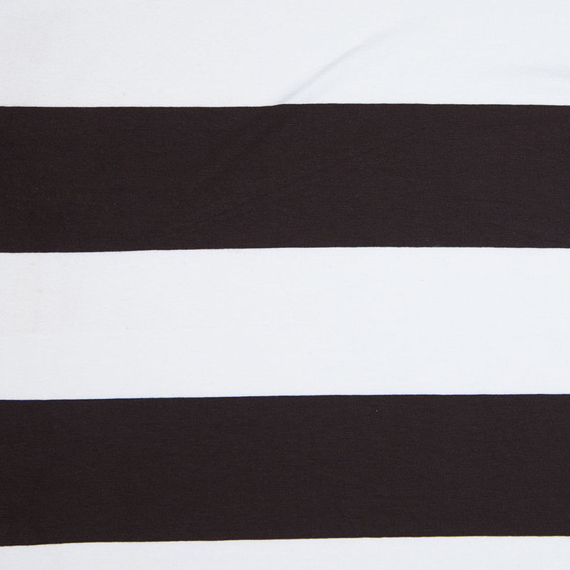 Brown and Ivory Chunky Stripes Viscose Jersey
