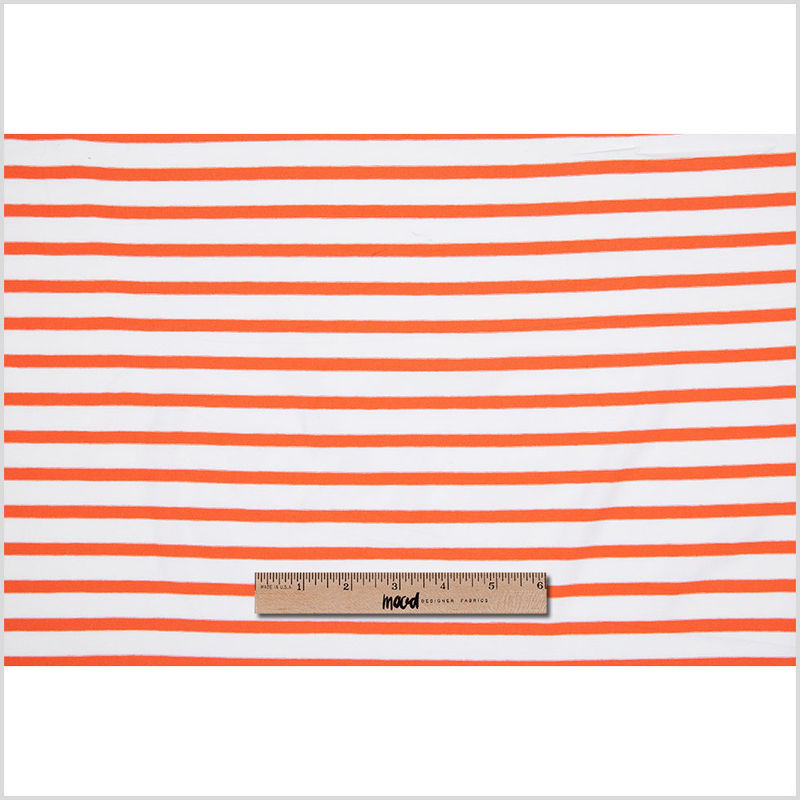 Orange and Ivory Striped Viscose Jersey - Full