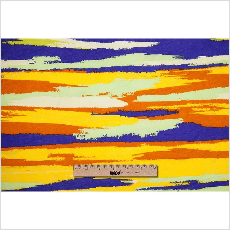 Golden Yellow & Bright Purple Streaks Cotton Jersey Print - Full