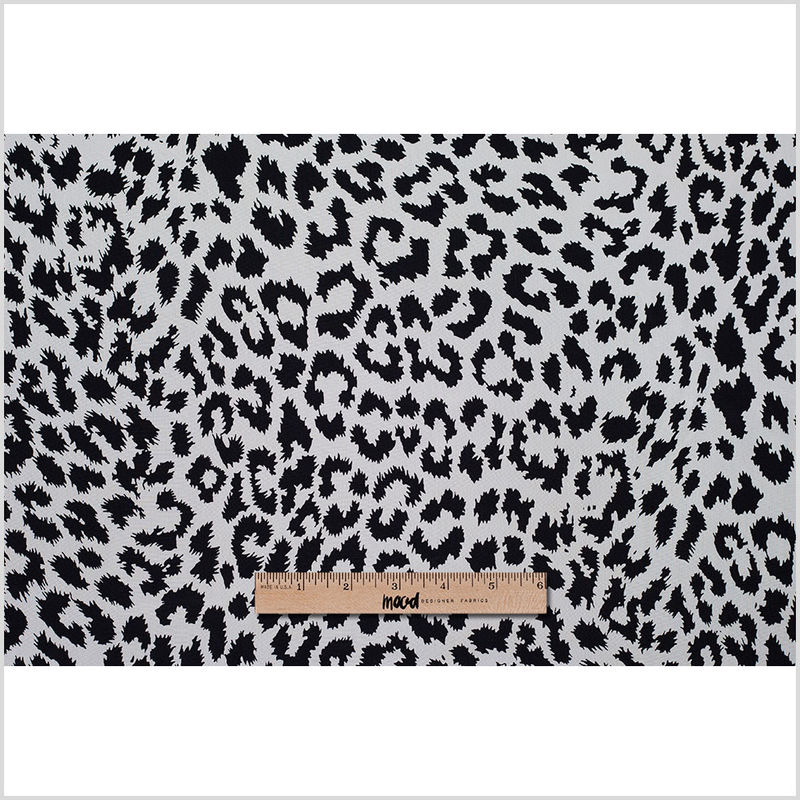 Famous Designer Black and White Animal Print Silk Crepe de Chine - Full