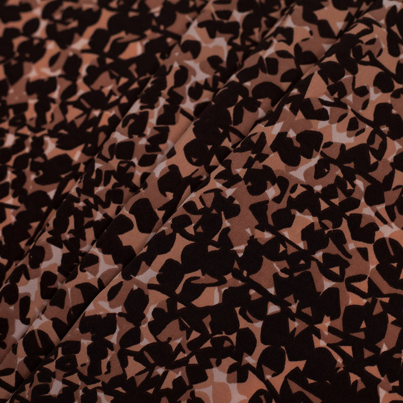 Famous Designer Pink and Brown Abstract Polyester Print - Folded