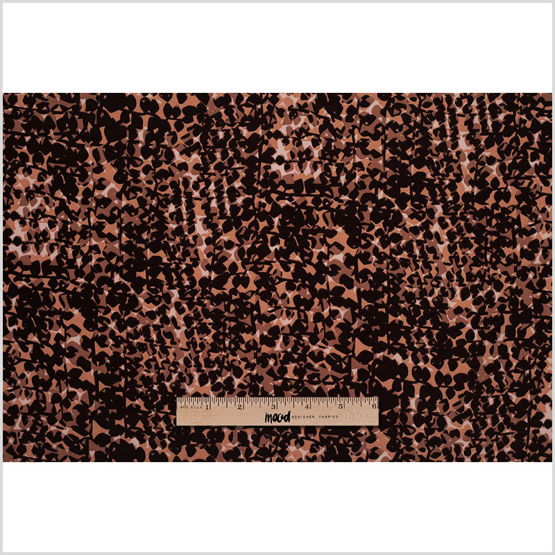 Famous Designer Pink and Brown Abstract Polyester Print - Full