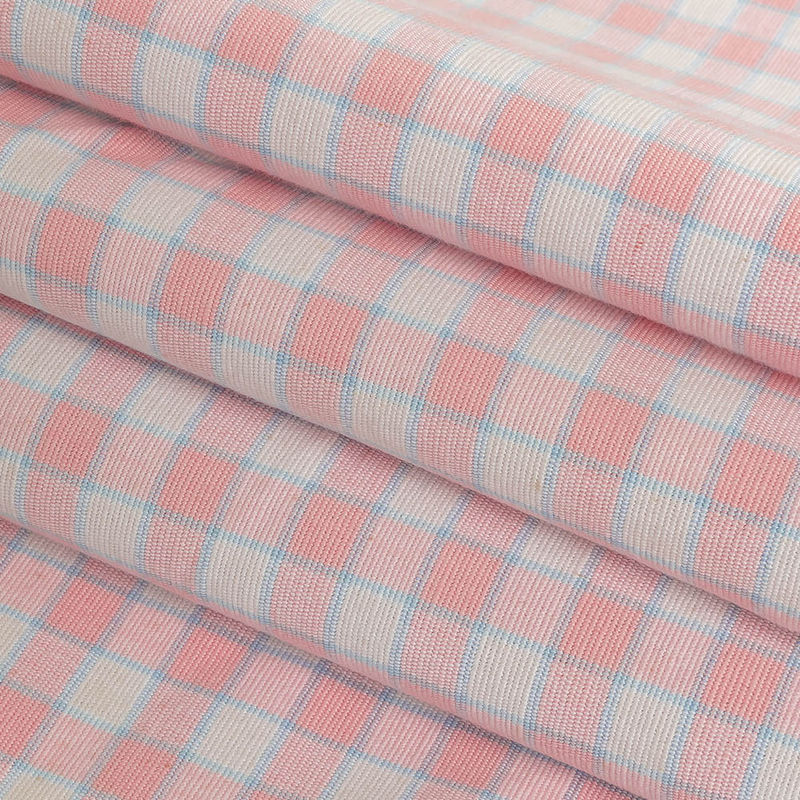 Baby Pink and Blue Checked Handwoven Cotton - Folded