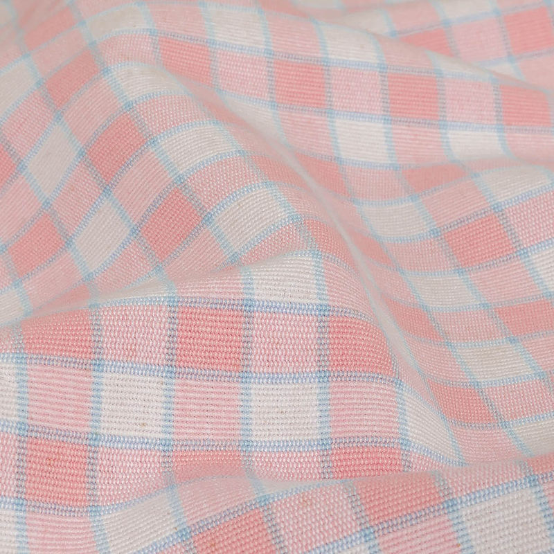Baby Pink and Blue Checked Handwoven Cotton - Detail