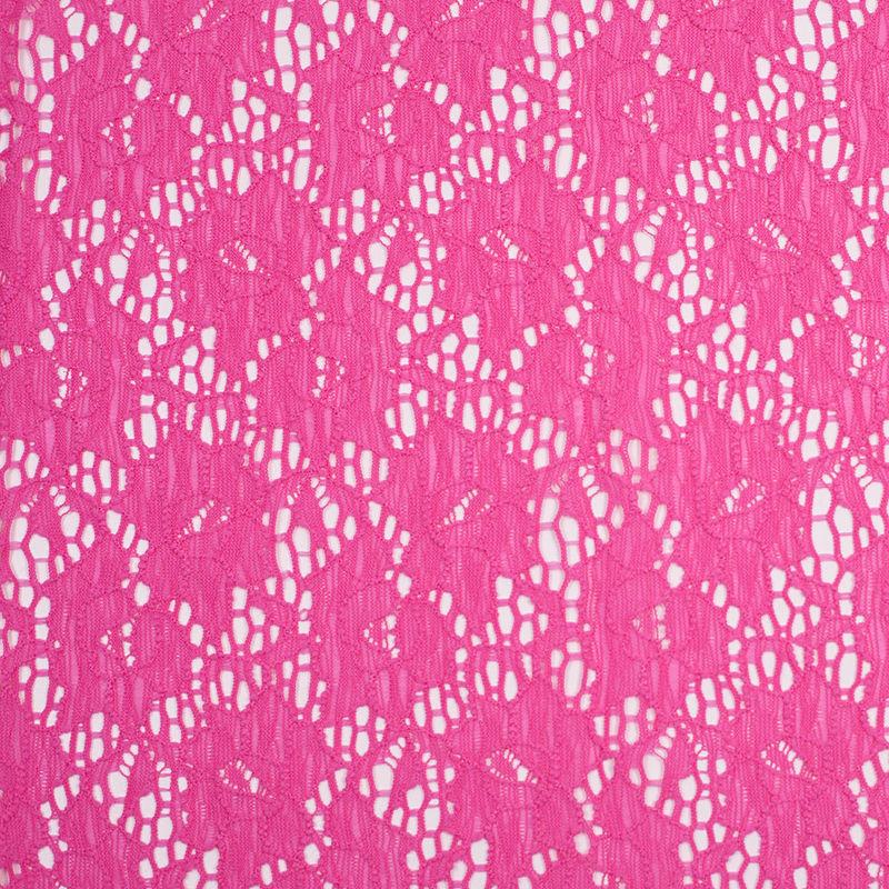 Fuchsia Floral Stretch Nylon Lace