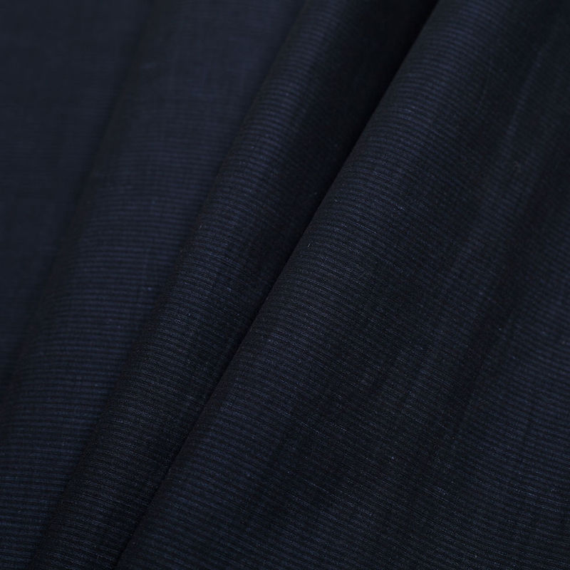 Theory Uniform Navy Striped Stretch Cotton-Linen Blend - Folded