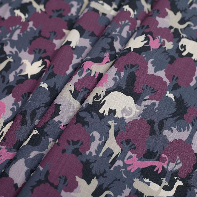 Bright Lavender/Dark Gray Slubbed Animal Printed Cotton Voile - Folded